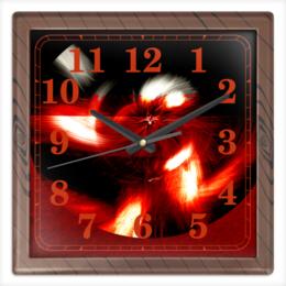 """Часы квадратные из пластика (под дерево) """"Абстракция в красном круге"""" - оригинальный, паттерн, абстрактный, геометрический, фантазийный"""