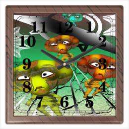 """Часы квадратные из пластика (под дерево) """"Инопланитяне"""" - инопланетяне, нло, марсиане, лунатики, летающая тарелка"""