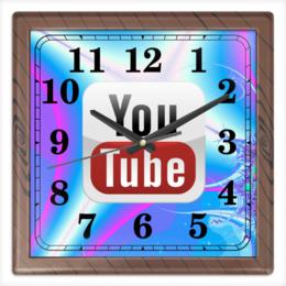 "Часы квадратные из пластика (под дерево) ""YouTube"" - youtube, ютуб"