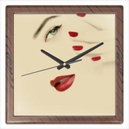 """Часы квадратные из пластика (под дерево) """"Лучшей подруге"""" - арт, девушка, 8 марта, дружба, подарок"""