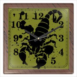 """Часы квадратные из пластика (под дерево) """"Скорпион (24.10-21.11)"""" - крутой, оригинальный, стильный, скорпион, биология"""