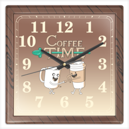 """Часы квадратные из пластика (под дерево) """"Время кофе"""" - кофе, adventure time, время приключений"""