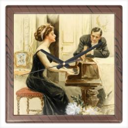 "Часы квадратные из пластика (под дерево) ""Музыка"" - арт, девушка, 8 марта, дружба, harrison fisher"