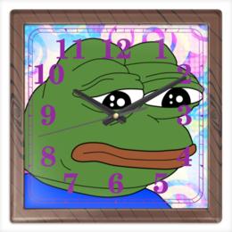 """Часы квадратные из пластика (под дерево) """"Pepe Frog"""" - мем, meme, грустная лягушка, sad frog, pepe frog"""