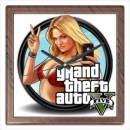 "Часы квадратные из пластика (под дерево) ""Grand Theft Auto V"" - grand theft auto, gta, rockstar, гта, рокстар, gta 5, gta5, grand theft auto 5, гта 5, gta v"