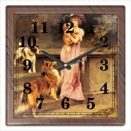 """Часы квадратные из пластика (под дерево) """"Собаки"""" - девушка, 8 марта, картина, собака, артур вардль"""