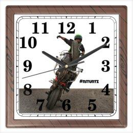 """Часы квадратные из пластика (под дерево) """"#nstuntz"""" - мотоцикл, nstuntz, трюковое мотошоу, алексей плотников"""