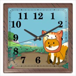 """Часы квадратные из пластика (под дерево) """"Часы с лисенком"""" - котик, зверь, лиса, милота"""