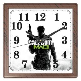 "Часы квадратные из пластика (под дерево) ""CALL of DUTY"" - call of duty, video games, shooter, зов долга, cod, шутер"