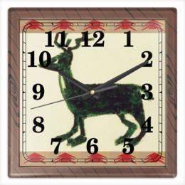 """Часы квадратные из пластика (под дерево) """"Олень"""" - олень"""