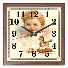 """Часы квадратные из пластика (под дерево) """"Маленький мальчик с игрушками"""" - ретро, мальчик, игрушки, ребёнок, старинный"""