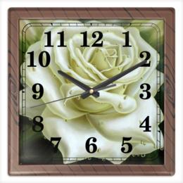 """Часы квадратные из пластика (под дерево) """"Белая роза"""" - арт, роза, в подарок"""
