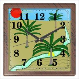 """Часы квадратные из пластика (под дерево) """"Три пальмы"""" - море, пальмы, южное солнце"""