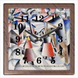 """Часы квадратные из пластика (под дерево) """"Утро после вьюги в деревне (Малевич)"""" - картина, живопись, малевич, кубизм, модерн"""