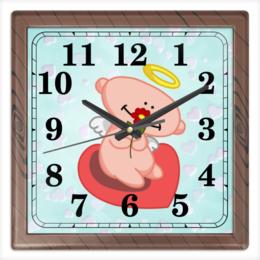 """Часы квадратные из пластика (под дерево) """"Влюбленный ангелок с сердцем"""" - сердце, любовь, цветок, ангел"""