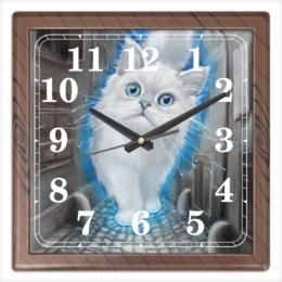 """Часы квадратные из пластика (под дерево) """"ЛУННЫЙ КОТ"""" - кот, животные, рисунок, сказка"""