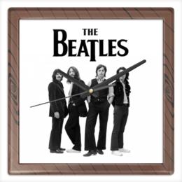 "Часы квадратные из пластика (под дерево) ""Beatles"" - музыка, beatles, битлз"