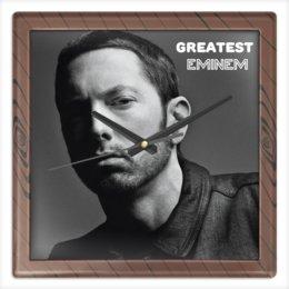 """Часы квадратные из пластика (под дерево) """"Eminem Watch"""" - рэп, хип-хоп, эминем"""