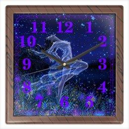 """Часы квадратные из пластика (под дерево) """"ЗВЕЗДОПАД"""" - девушка, цветы, стиль, красота, звездное небо"""