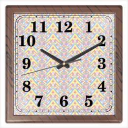 """Часы квадратные из пластика (под дерево) """"ngjjvbn480"""" - арт, узор, абстракция, фигуры, текстура"""