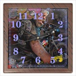 """Часы квадратные из пластика (под дерево) """"БАЙКЕР. BIKER"""" - юмор, фильм, актер, татуировка, мотоцикл"""