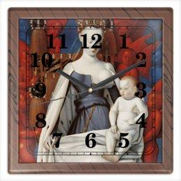 """Часы квадратные из пластика (под дерево) """"Дева Мария (Маленский диптих)"""" - картина, живопись, христианство, фуке"""