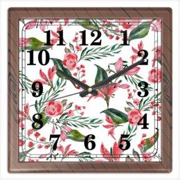 """Часы квадратные из пластика (под дерево) """"Цветы на белом"""" - цветы, роза, листья, природа, пион"""