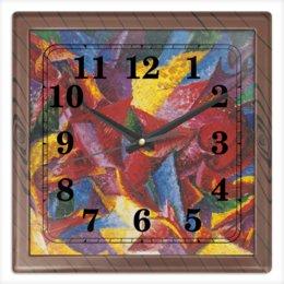 """Часы квадратные из пластика (под дерево) """"Пластичные формы лошади (картина Умберто Боччони)"""" - картина, живопись, футуризм, кубизм, боччони"""