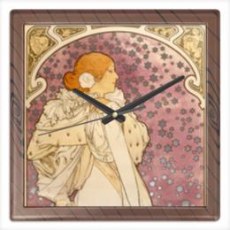 """Часы квадратные из пластика (под дерево) """"В стиле модерн"""" - арт, девушка, 8 марта, картина, альфонс муха"""