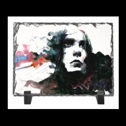 """Каменная рамка """"Образ"""" - белый, черный, портрет, розовый, акварель"""