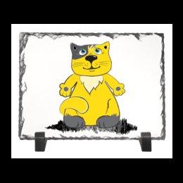 """Каменная рамка """"Голубоглазый котик"""" - кот, рисунок, детский, желтый, мультяшный"""