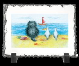"""Каменная рамка """"Алый парус/ red sail"""" - кот, смешные, смешное, животные, kitty, котенок, популярные, ретро, море, отдых"""