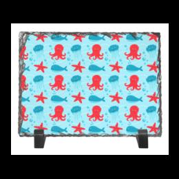 """Каменная рамка """"Морская"""" - стиль, рисунок, детский, осминог, морской"""