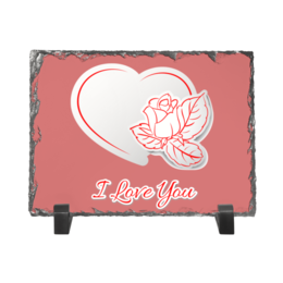 "Каменная рамка ""Я люблю тебя!"" - сердце, любовь, роза"