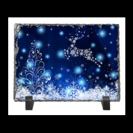 """Каменная рамка """"Новогодняя"""" - новый год, снежинки, олень"""