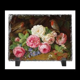 """Каменная рамка """"Цветы"""" - цветы, птицы"""