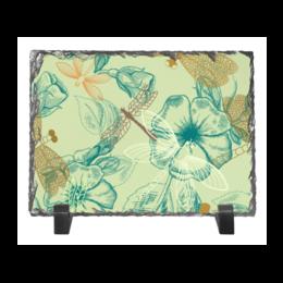 """Каменная рамка """"Флора и Фауна"""" - цветы, животные, стильный, цветочный, стрекоза"""
