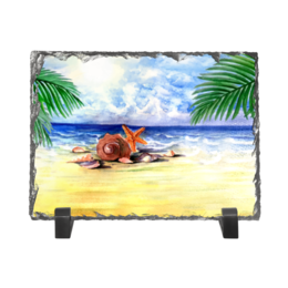 """Каменная рамка """"Пляжная"""" - пальма, море, пляж, ракушка, морская звезда"""