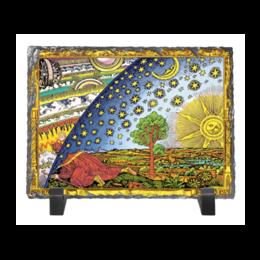 """Каменная рамка """"Гравюра Фламмариона в Цвете"""" - земля плоская, купол, солнце, дерево, вселенная"""