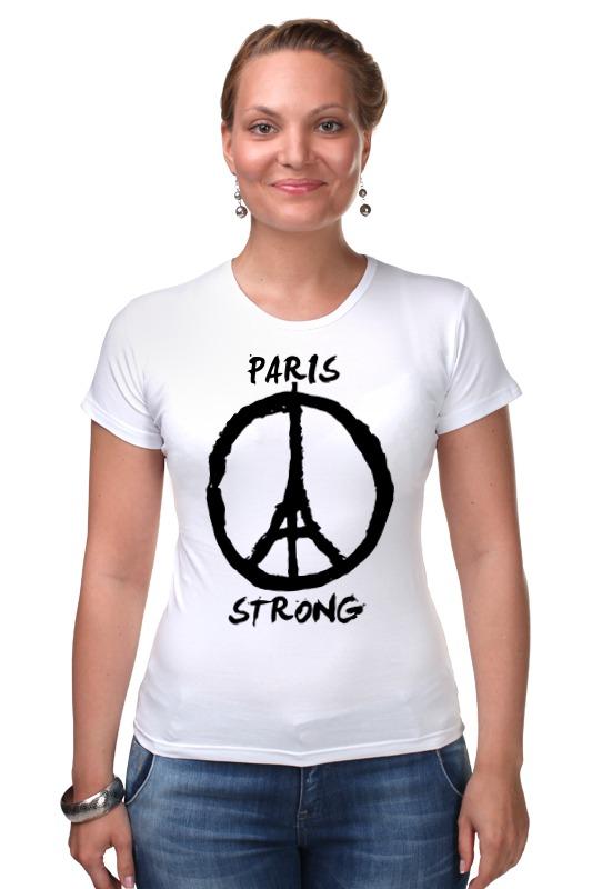 футболка стрэйч printio pray for paris молитесь за париж Футболка Стрэйч Printio Париж сильный (мир парижу)