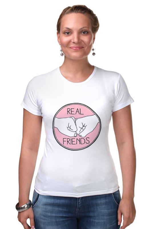 Футболка Стрэйч Printio Real friends эбби ханлон настоящие друзья