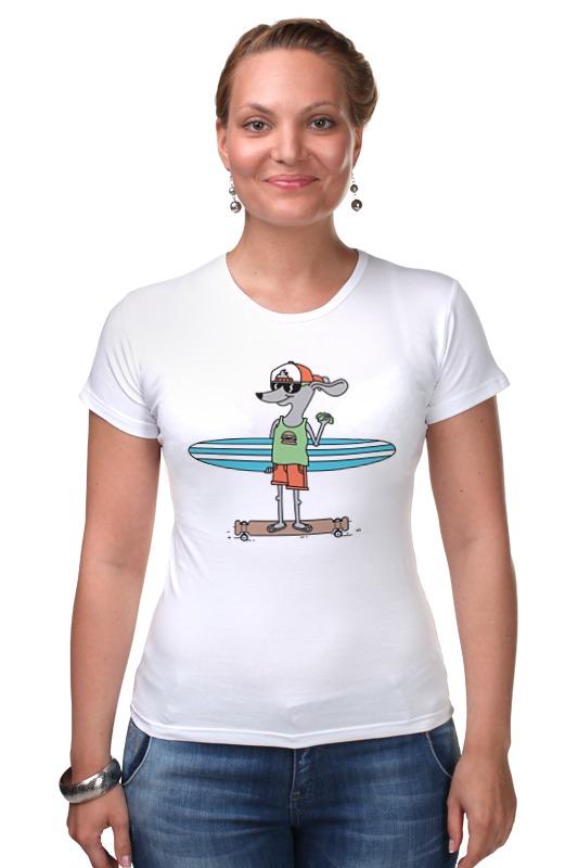 Футболка Стрэйч Printio Пес на доске футболка wearcraft premium printio пес на доске