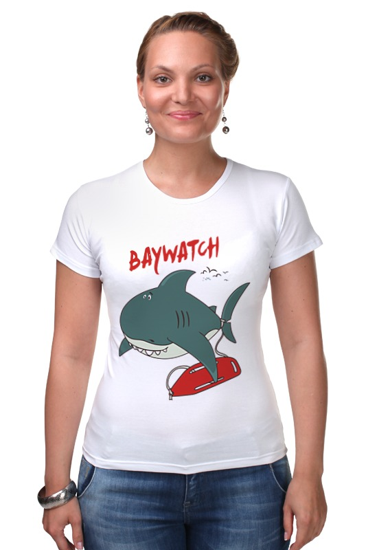 Футболка Стрэйч Printio Акула (baywatch) гербер кэтрин лос анджелес