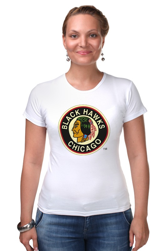 Футболка Стрэйч Printio Chicago black hawks / nhl usa футболка wearcraft premium slim fit printio chicago black hawks nhl usa