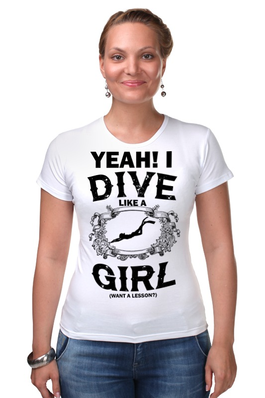 Футболка Стрэйч Printio Dive like a girl цены онлайн