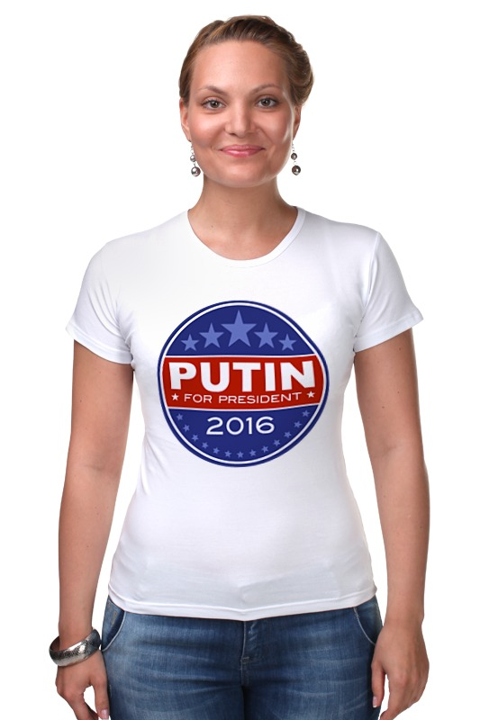 Футболка Стрэйч Printio Путина в президенты америки (2016) президенты ru