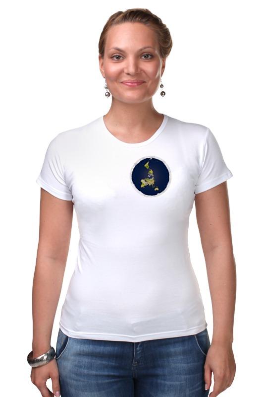Футболка Стрэйч Printio плоская земля (женская, белая)