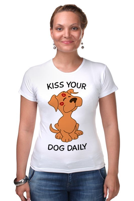 Футболка Стрэйч Printio Поцелуй собаку большую мягкую игрушку собаку лежа в москве