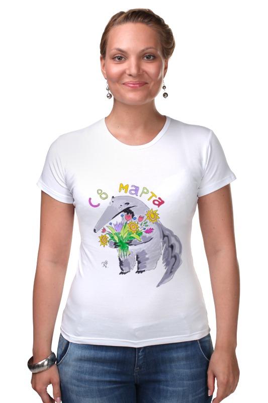 Футболка Стрэйч Printio Муравьед с цветами футболка классическая printio муравьед с цветами