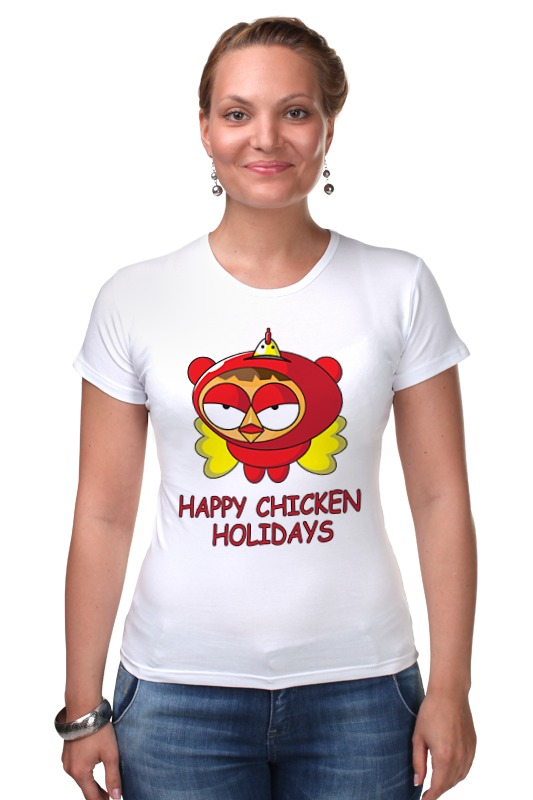 Футболка Стрэйч Printio Happy chicken holidays поло print bar happy chicken holidays